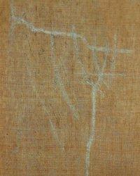 Achterkant; doek vlak gemaakt en de scheur gehecht.