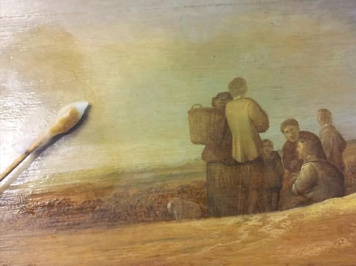 detail restauratieschilderij, Salomon Ruysdael - landschap met figuren